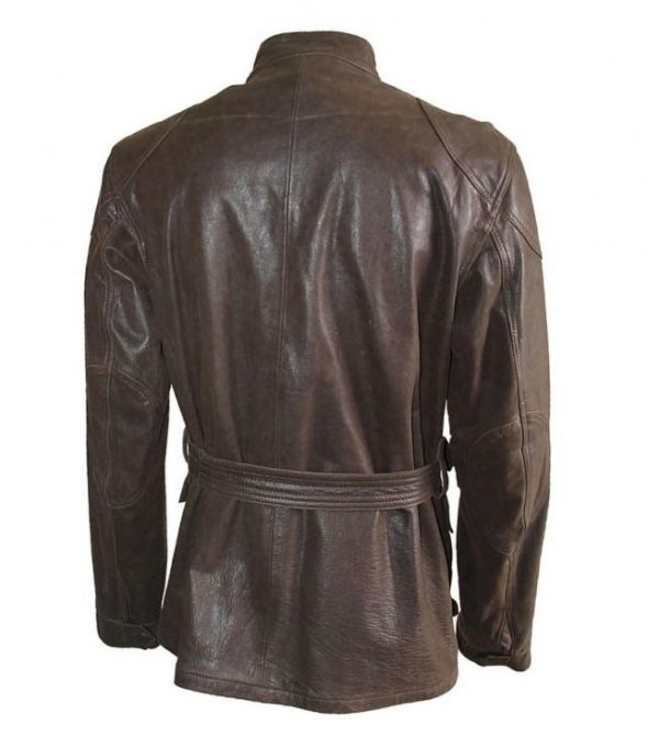 Brad Pitt Brown Belted Leather Jacket