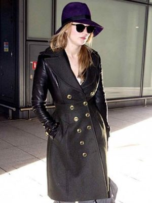 Designer Jennifer Lawrence Black Leather Trench Coat-0