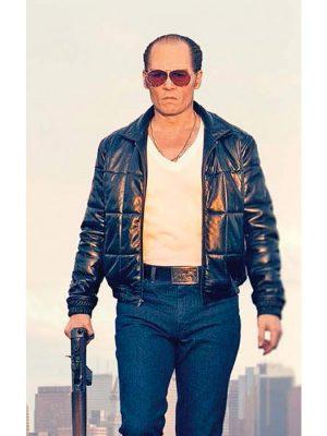Johnny Depp Black Mass Black Leather Bomber Jacket-0