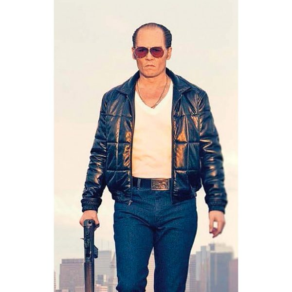 Johnny Depp Black Mass Black Leather Bomber Jacket-0