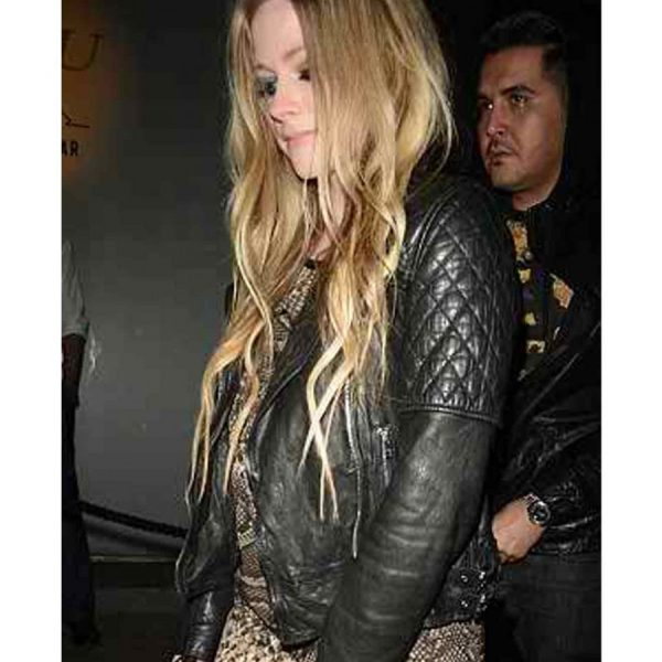 Avril Lavigne Black Biker Leather Jacket