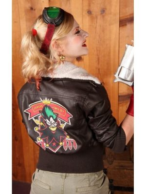 Bombshell Harley Quinn Leather Jacket -0