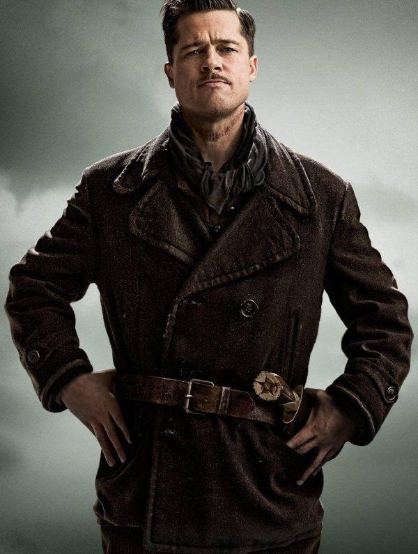 Inglourious Basterds Brad Pitt Leather Jacket-0