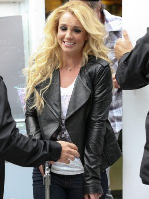 Britney Spears Black Quilted Biker Leather Jacket
