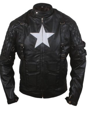 American Captain Avenge 5 Style Biker Leather Jacket-0