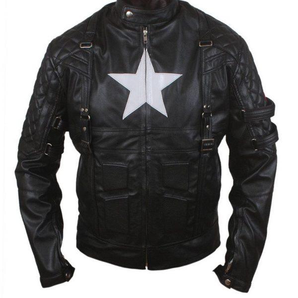 American Captain Avenge 5 Style Biker Leather Jacket-0