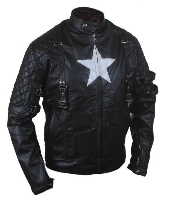 Black Biker Quilted Leather Jacket