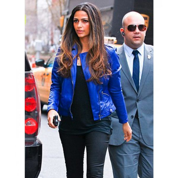 Biker Style Camila Alves Blue Leather Jacket-0