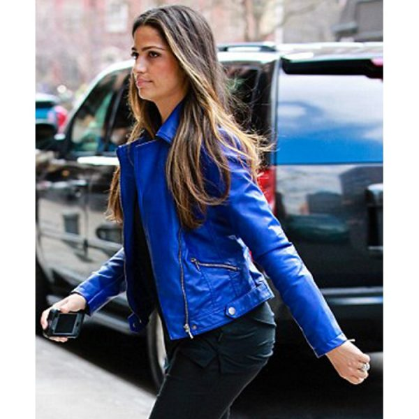 Camila Alves Blue Biker Jacket