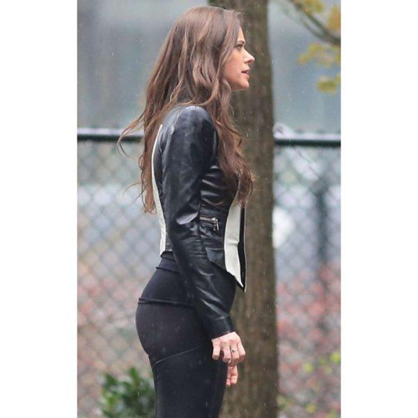 Peyton List Slim-fit Leather Jacket