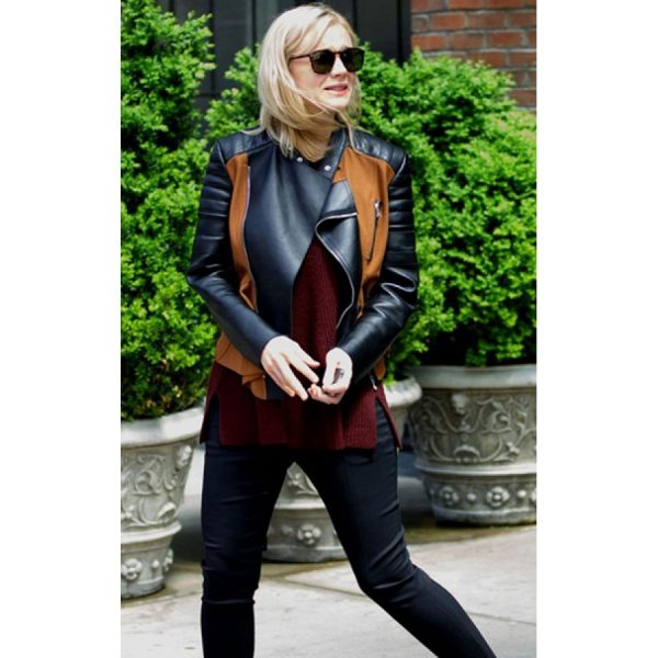Designer Stylish Carey Mulligan Black Leather Jacket-0
