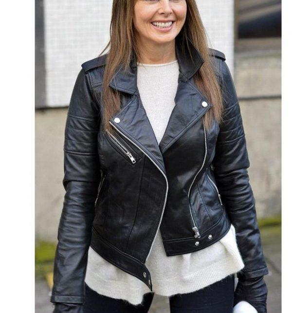 Carol Vorderman Black Leather Jacket