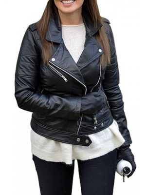 Carol Vorderman Black Leather Jacket-0