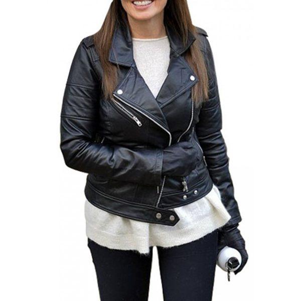 Carol Vorderman Black Leather Jacket-0