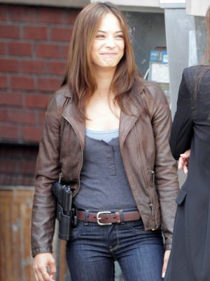 Kristin Kreuk Brown Jacket