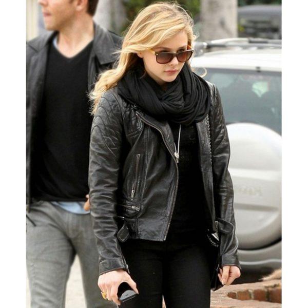 Chloe Moretz Black Quilted Leather Jacket