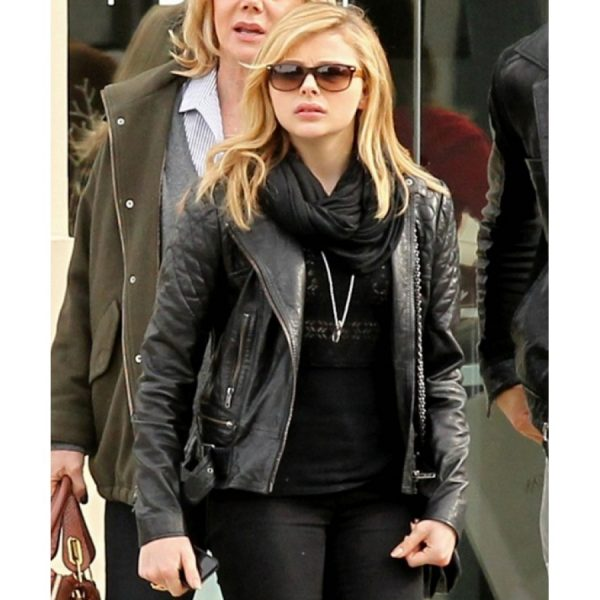 Biker Style Chloe Moretz Black Leather Quilted Jacket-0