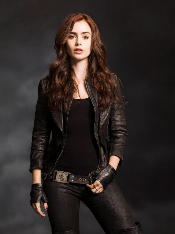 Mortal Instruments Lily Collins Leather Jacket-0