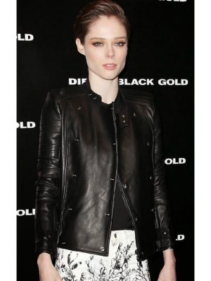 Biker Style Coco Rocha Black Leather Jacket-0