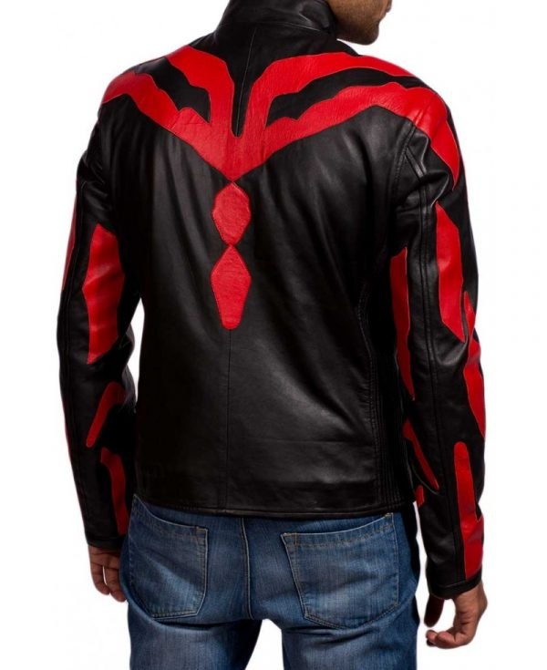 Darth Maul Star Wars Black and Red Leather Jacket