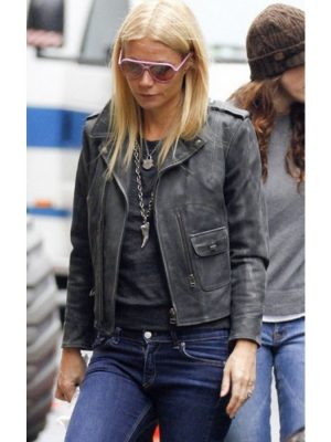 Gwyneth Paltrow Distressed Black Leather Jacket-0