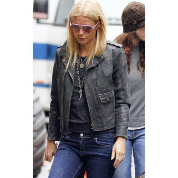 Gwyneth Paltrow Distressed Black Leather Jacket-0