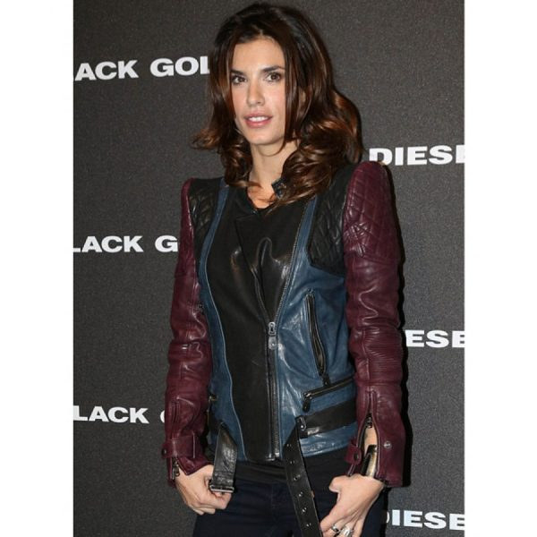 Elisabetta Canalis Leather Biker Quilted Jacket-0