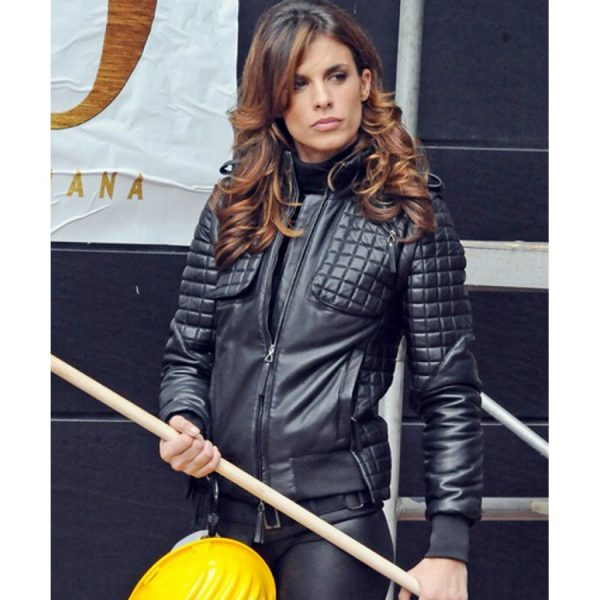 Elisabetta Canalis Quilted Black Leather Jacket-0