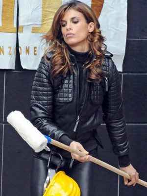 Elisabetta Canalis Black Quilted Leather Jacket