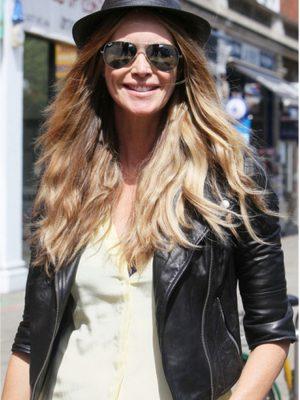 Biker Style Elle Macpherson Black Leather Jacket-0