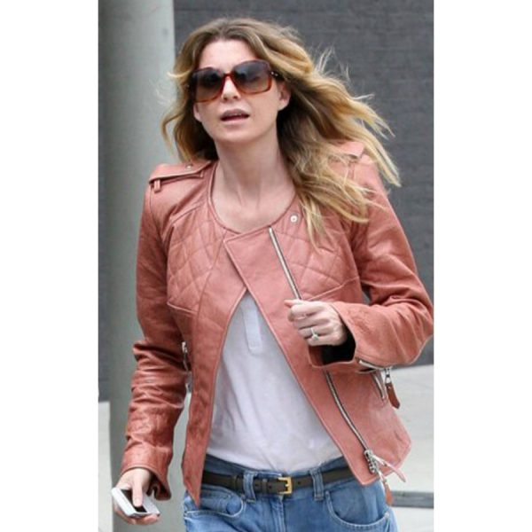 Ellen Pompeo Light Brown Quilted Leather Jacket