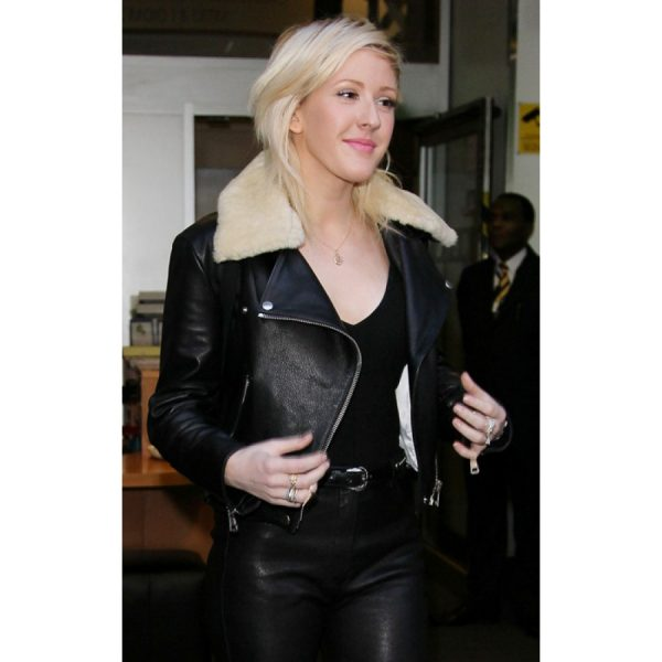 Ellie Goulding Jacket with Fur Collar-0