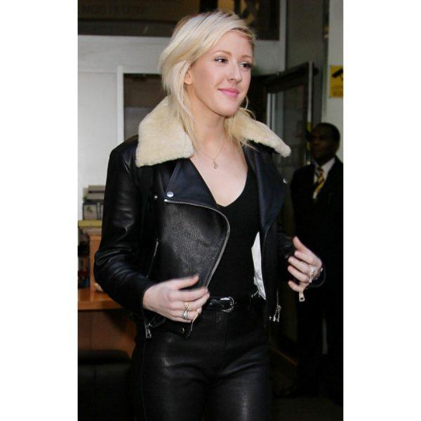 Ellie Goulding Jacket with Fur Collar-0