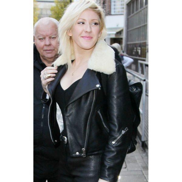 Ellie Goulding Fur Collar Biker Jacket
