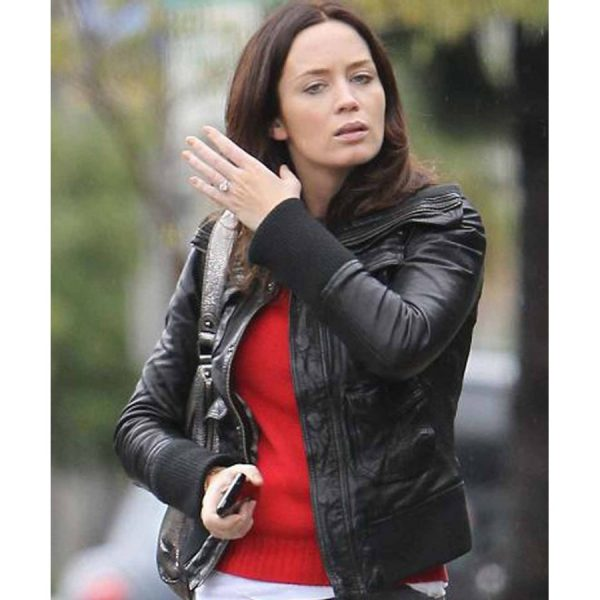 Emily Blunt Studio Los Angeles Rain Black Leather Jacket-0