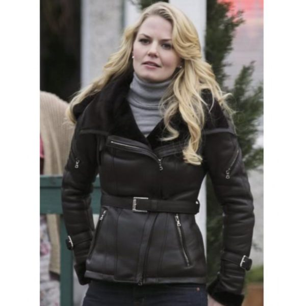 Black Emma Swan Once Upon A Time Leather Jacket -0