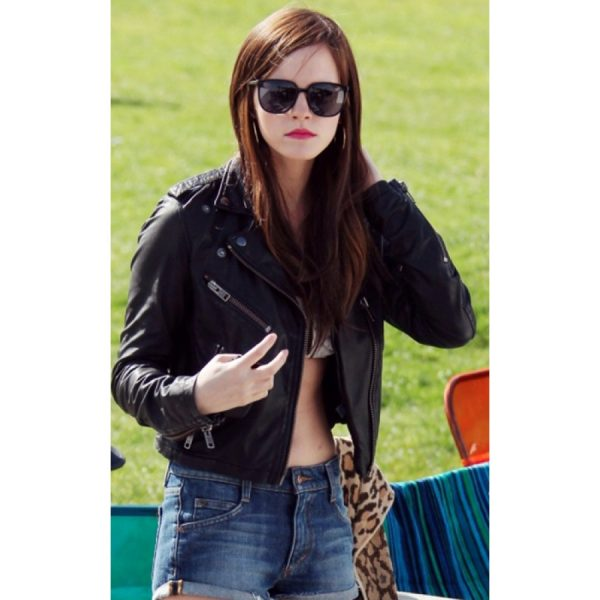 Emma Watson Black Leather Biker Jacket-0