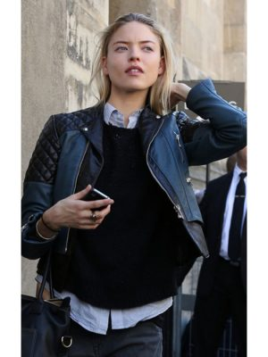 Martha Hunt Quilted Biker Leather Jacket
