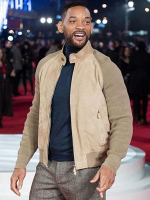 Focus 2015 Film Music Release Show Will Smith Leather Jacket-0