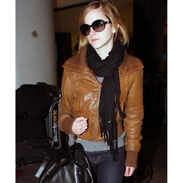 Emma Watson Brown Leather Jacket Women-0