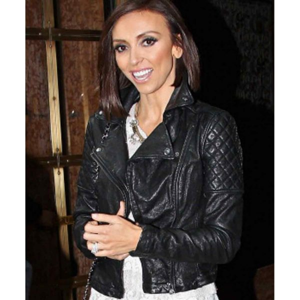Giuliana Rancic Black Quilted Leather Jacket-0