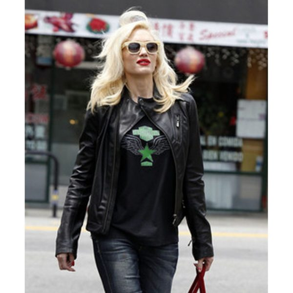 Gwen Stefani Black Leather Jacket-0
