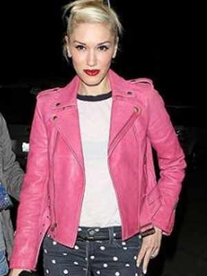 Gwen Stefani Hot Pink Leather Jacket-0