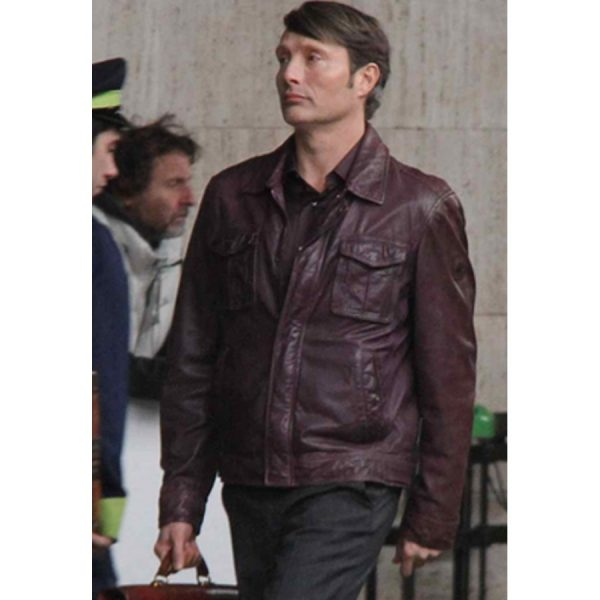 Mads Mikkelsen Hannibal Brown Leather Jacket-0