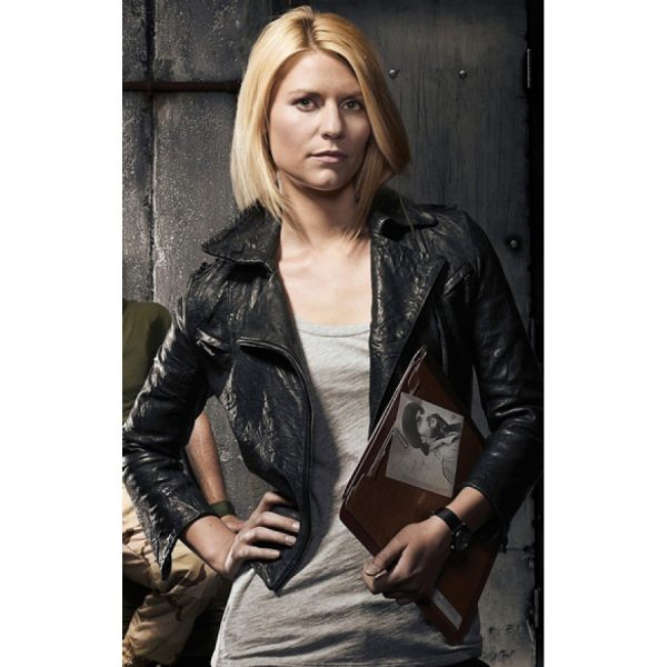Carrie Mathison Homeland Cropped Black Leather Jacket-0
