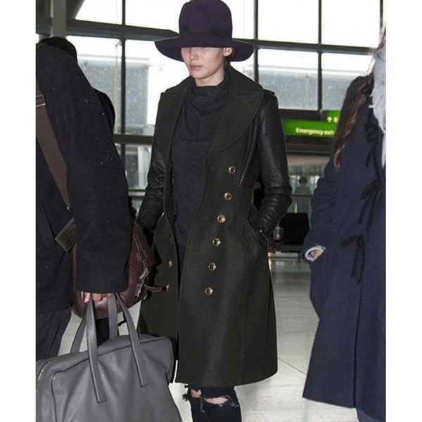 Jennifer Lawrence Black Designer Trench Coat