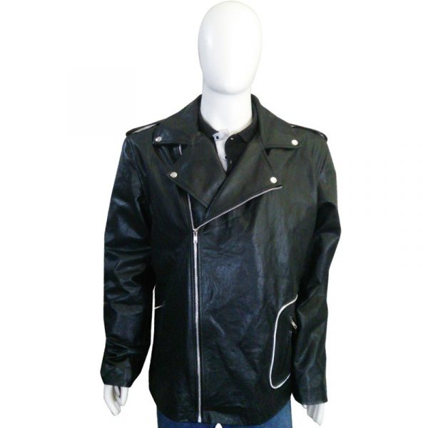 John Travolta Black Biker Leather Jacket