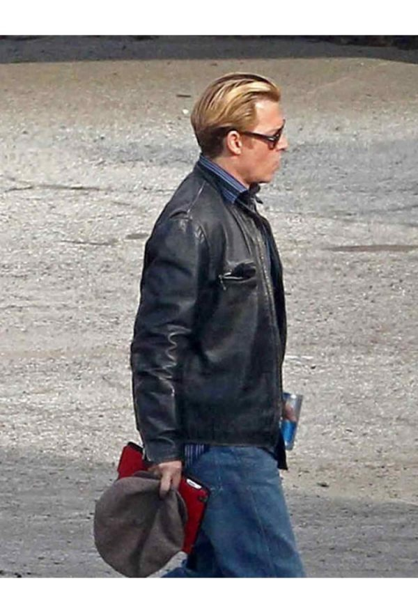 Charles Mortdecai Black Leather Jacket