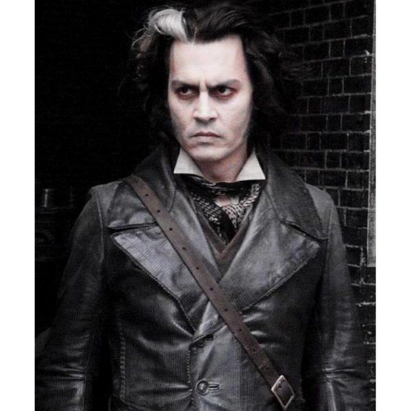 Johnny Depp Black Leather Coat