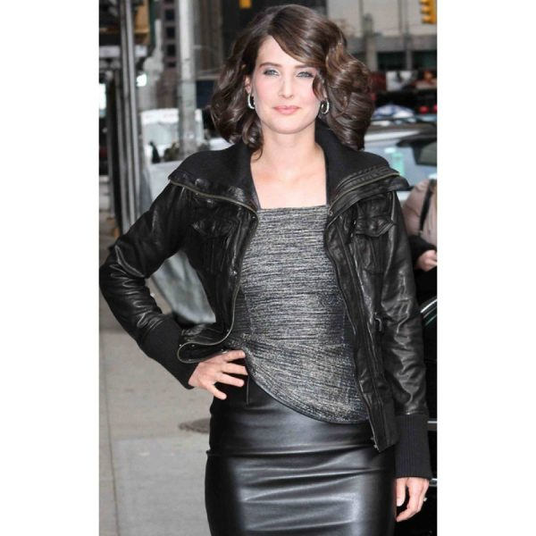 Cobie Smulders Black Leather Bomber Jacket-0
